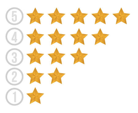 rating: gold stars illustration design over white background