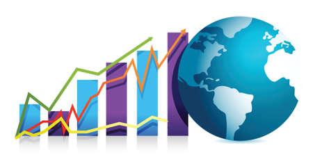 expertise: global business graph illustration design over white background Illustration