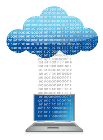laptop cloud computing binary transfer illustration design Vector
