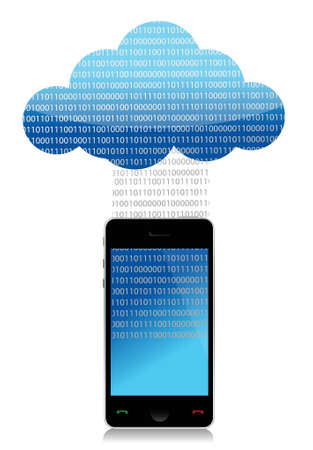 mobile cloud computing binary transfer illustration design Vector