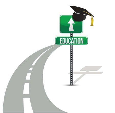 successful student: strada per design illustrazione formazione su sfondo bianco Vettoriali