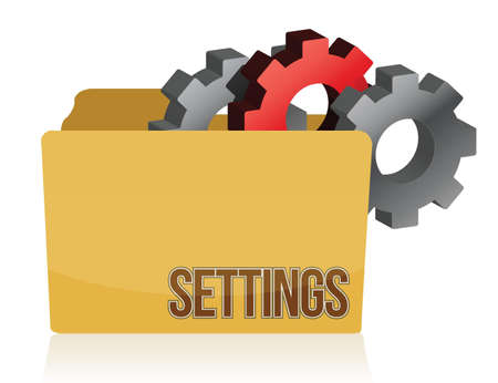folder and gears settings illustration design over white Vector