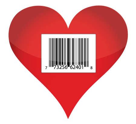 barcode heart illustration design over white background Vector