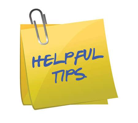 punta: suggerimenti utili post it design illustrazione su bianco