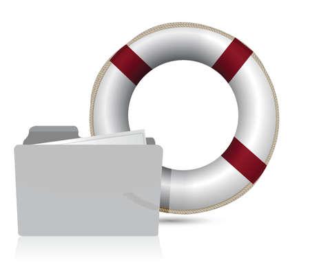 lifesaver sos folder illustration design over white background