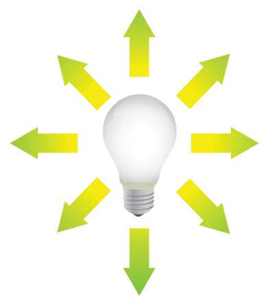 lightbulb with arrows around illustration design over white