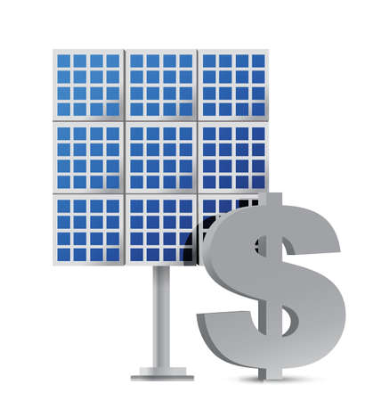 solar panel roof: solar panel and dollar sign illustration design over white Illustration