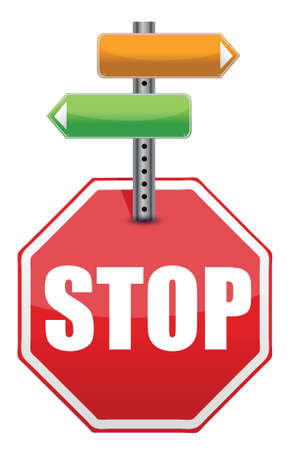 stop sign with color arrows pointing to different directions illustration Stock Vector - 15846143
