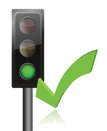 traffic light and checkmark illustration design over white Stock Vector - 15846164