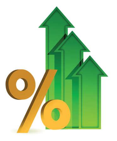 arrows going up and percentage symbol illustration design Illustration