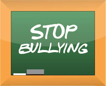 stop bullying text written on a blackboard illustration design Vector