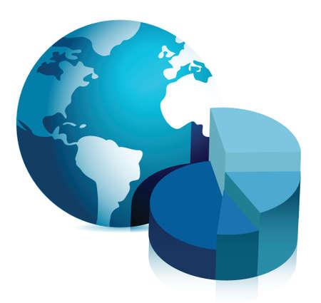 pie chart and globe illustration design over white background Vettoriali