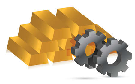 gold bars and gears illustration design over white background