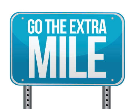 mile: go the extra mile illustration design over white Illustration