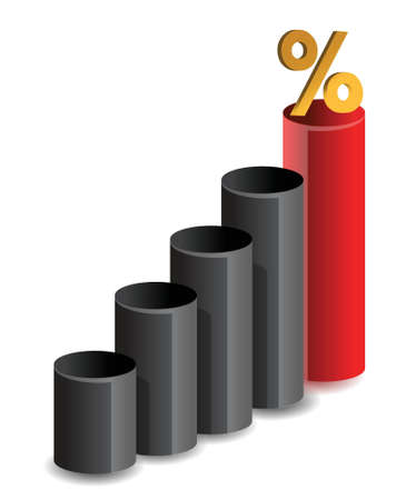 business graph and percentage symbol illustration design Stock Vector - 15868859