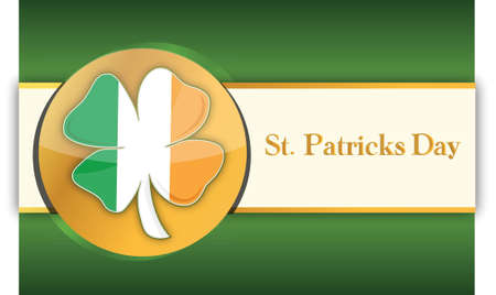 republic of ireland: Saint patricks day green and gold background illustration Illustration
