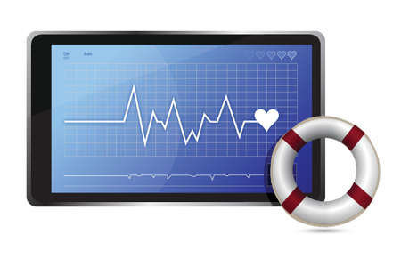 heart ecg trace: SOS lifeline medical wealth illustration design over white background
