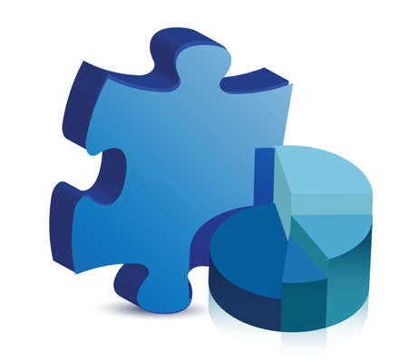 pie chart and puzzle piece illustration design over white Vector