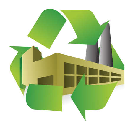 cíclico: fábrica de reciclaje de diseño ilustración sobre fondo blanco Vectores