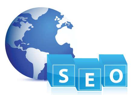technologie: search engine optimization globe illustration design over white