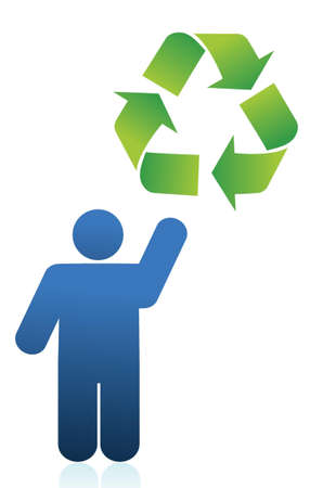 icon and recycle sign illustration design over white Stock Vector - 15925477