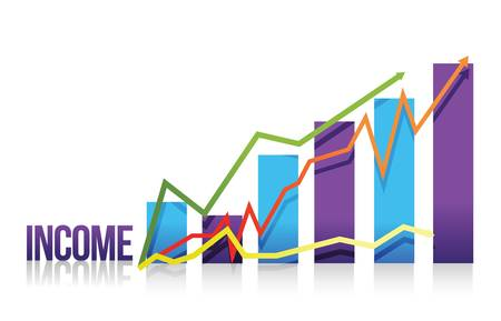 net worth: income colorful graph illustration design over white Illustration
