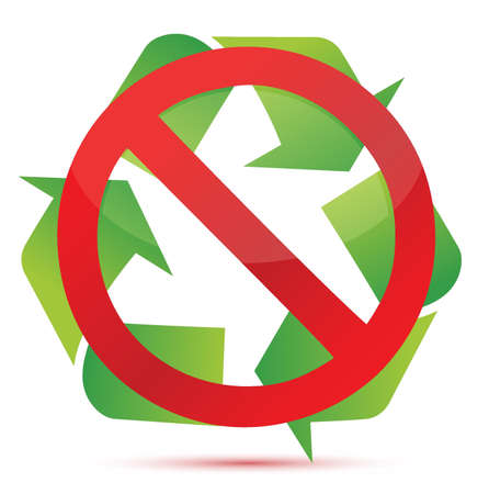 environmental awareness: do not recycle illustration design over white background