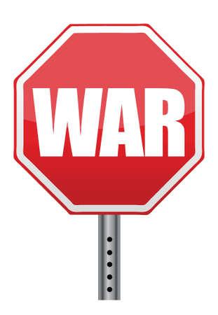 anti war: red stop war sign illustration design over white Illustration