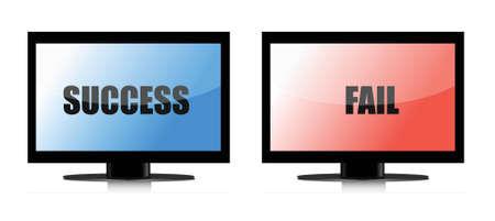 success and fail monitors illustration over white Illusztráció