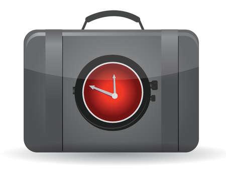 Zak met een horloge aan de voorkant illustratie ontwerp
