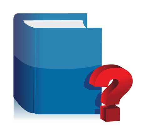 boek en vraagteken illustratie ontwerp op een witte achtergrond Stock Illustratie