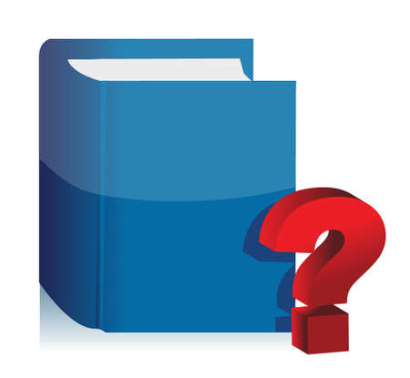 book and question mark illustration design over white background Vector