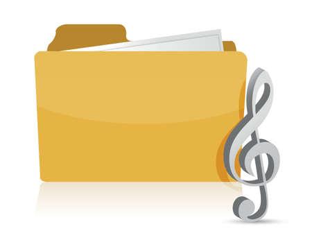 folder music illustration design over white background Çizim