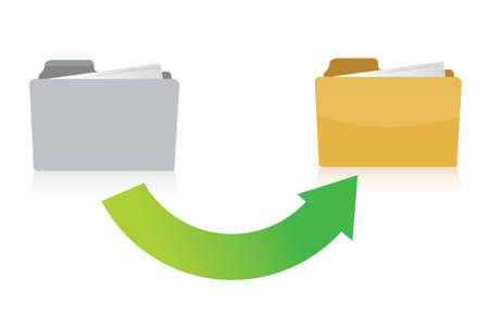 folder transferring files concept illustration design over white Stock Vector - 15925503