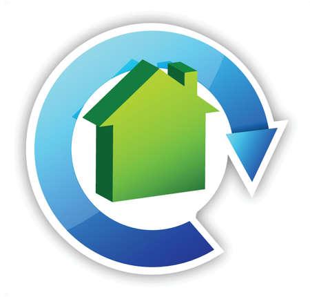 huis cyclus illustratie ontwerp op een witte achtergrond