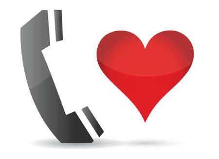 caller: phone and heart illustration design over white