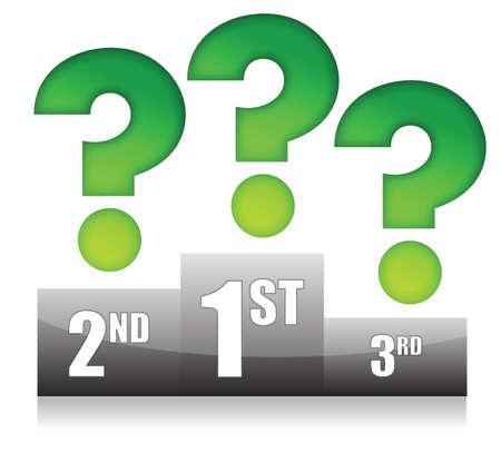 solver: podium with question marks illustration design over white Illustration