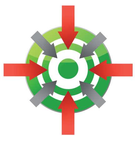 poner atencion: objetivo que apunta a centro de diseño ilustración sobre blanco
