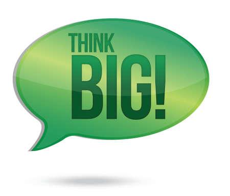 think big: Think big message illustration design over white background Illustration