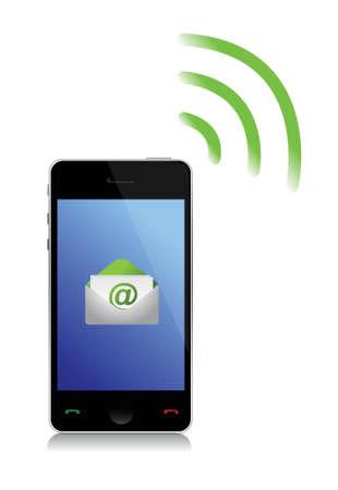 cel: sending an email cel phone illustration design over white