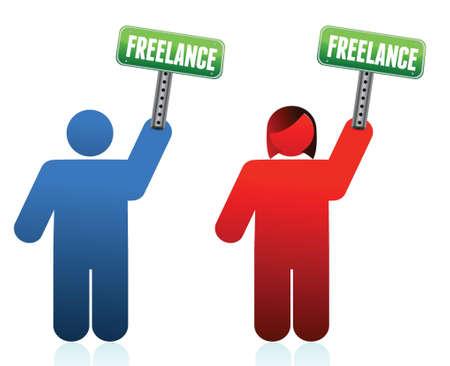 male and female freelancer signs illustration design Stock Vector - 15987901