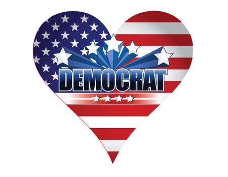 democrat party: democrat party usa heart illustration design over white