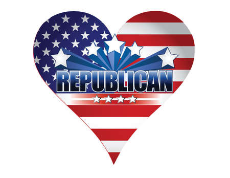 republican party: republican party usa heart illustration design over white Illustration