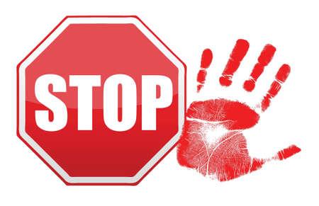 stop handprint illustration design over white background Stock Vector - 15987938