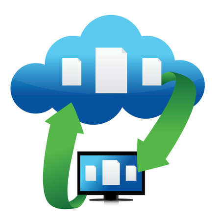 file transfer from cloud illustration design over white Stock Vector - 15987918