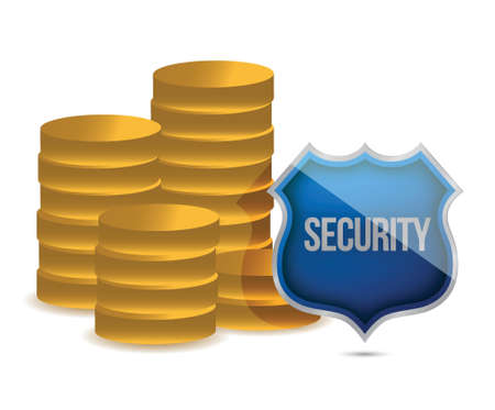 coins shield security concept illustration design over white Stock Vector - 15987990