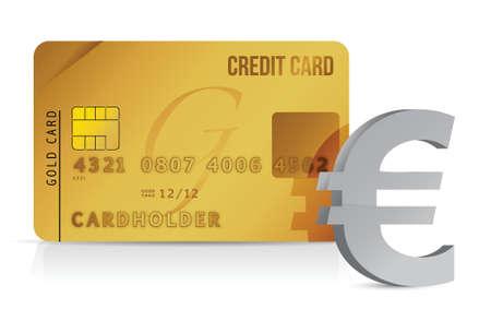 euro credit card concept illustration design over white Stock Vector - 15987989
