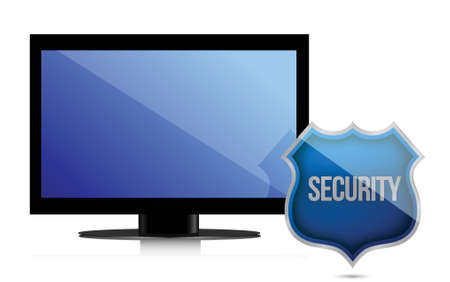 monitor with security shield illustration design over white Stock Vector - 15987934