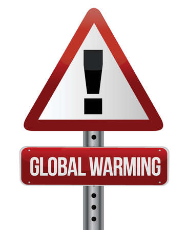 environmental issues: global warming street sign illustration design over white