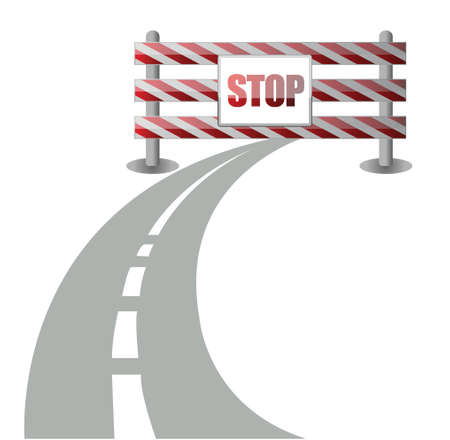 dangerous work: barrier on the road illustration design over white